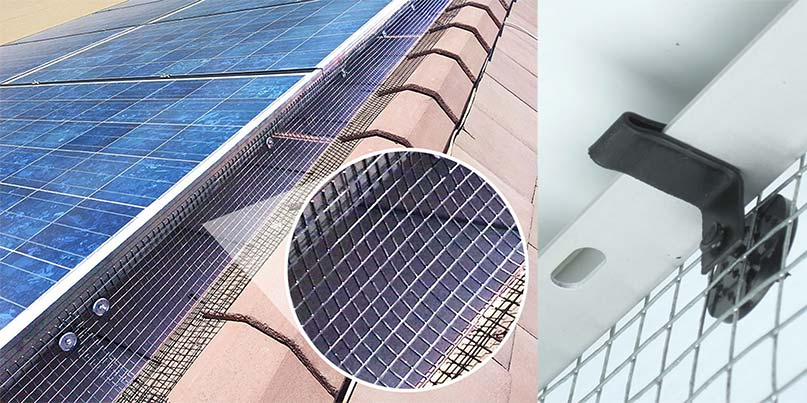 Images shows enviroguard solar panel bird mesh and how it clips under a solar panel